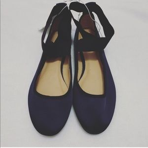 Navy Blue Ballet Flats for Work Size 7
